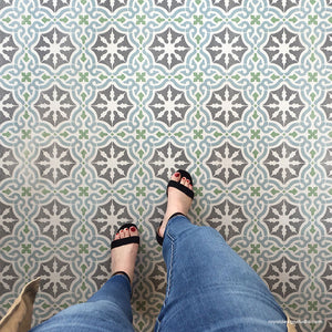Colorful Floor Tiles Painted with Classic European Tile Stencils - Painted Floor Design - Royal Design Studio Stencils