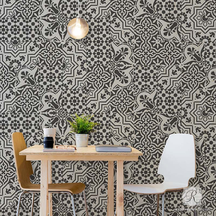 Room Makeover with Painted European Tile Designs for Painting Pattern on Walls and Floors - Spanish Tile Stencils - Royal Design Studio