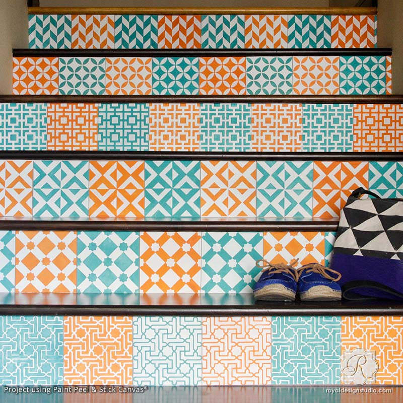 Paint Peel and Stick Canvas - Removable Canvas for Colorful Pattern Stairs - Royal Design Studio