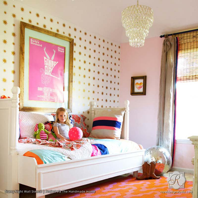 Cute Allover Starry Nights Stencil in pink and gold girl s bedroom. Stencil and Pattern Ideas for Girl s Bedrooms   Royal Design
