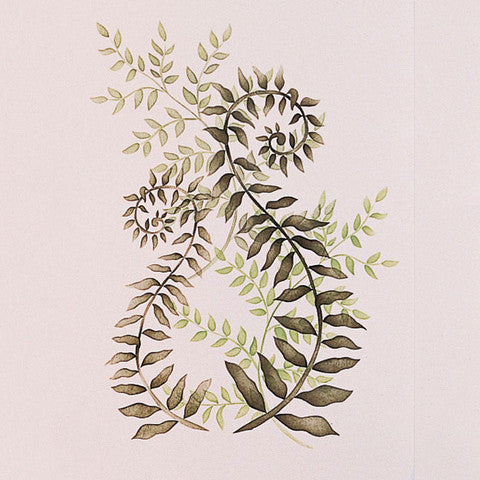 Curly Ferns and Leaves Vine Wall Mural Art Stencils - Royal Design Studio