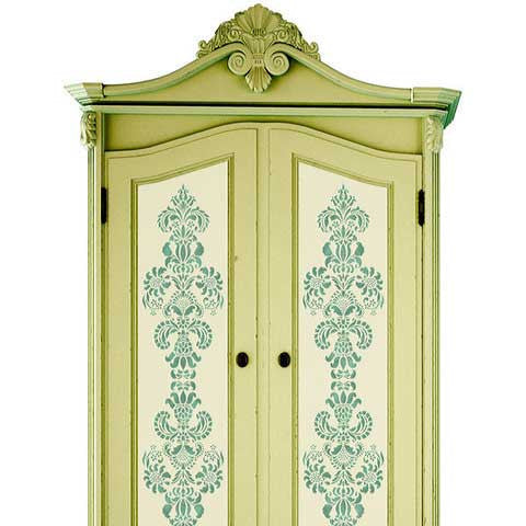 Stenciled Cebinet Doors with Delicate Floral Furniture Stencils - Royal Design Studio
