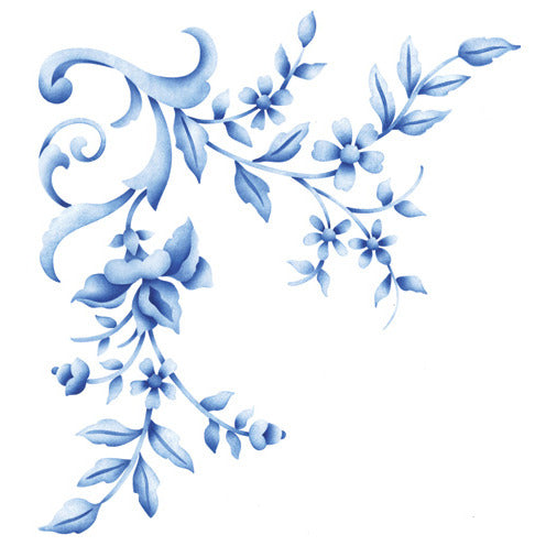 Floral Embroidery Corner Stencil for DIY Wall Art - Royal Design Studio