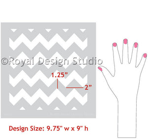 Decorate a dresser or table top with classic or retro patterns like our Chevron Furniture Stencils - Royal Design Studio