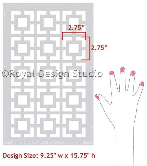 Modern and Retro Wall Decor - Geometric Wall Designs - Hollywood Squares Wall Stencils - Royal Design Studio