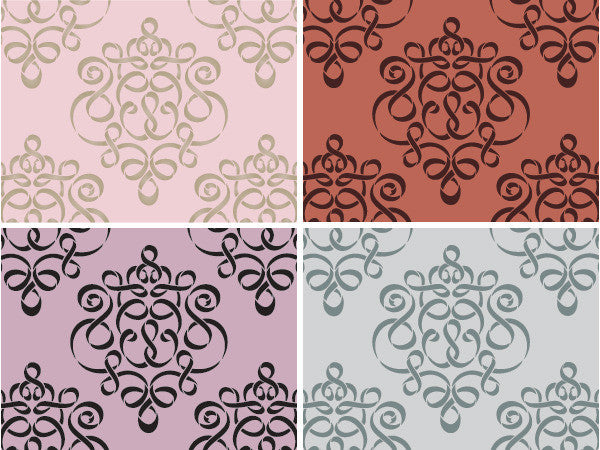 wall stencil small ribbon damask stencil royal design studio