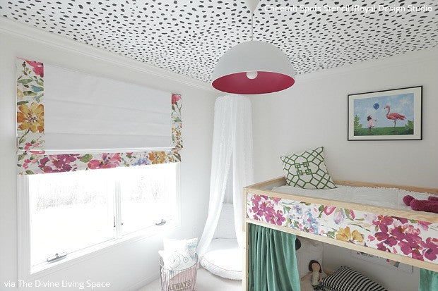 Painted Ceiling Stencils in Girls Room Makeover - Cheetah Animal Print Stencils - Royal Design Studio