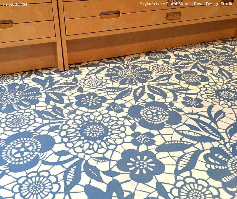 DIY Painted Hardwood Floor Project using Skylars Lace Floral Stencils and Chalk Paint - Royal Design Studio