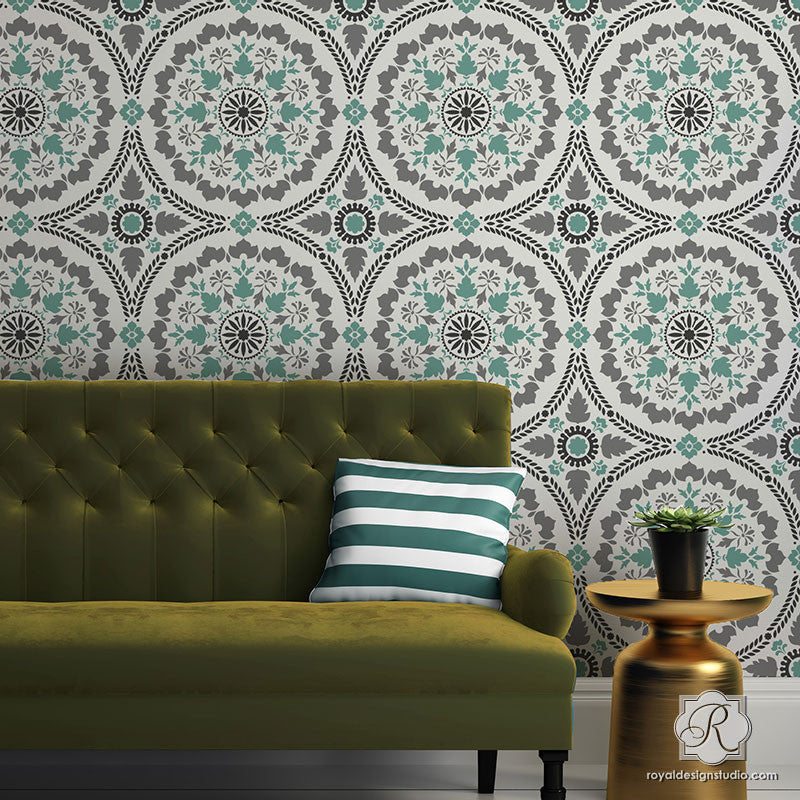 Diy painted wallpaper look with large suzani designs mandala fusion tile stencil royal design