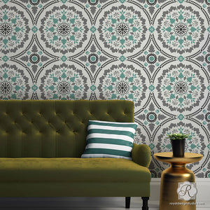 DIY Painted Wallpaper Look with Large Suzani Designs  - Mandala Fusion Tile Stencil - Royal Design Studio