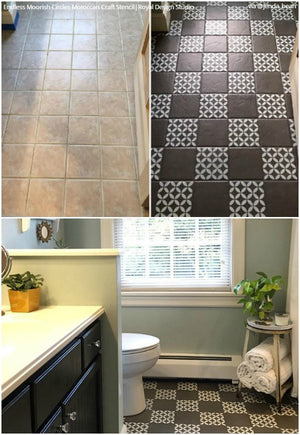 DIY Painted Vinyl Linoleum Floor Stencils - Tile Stencils from Royal Design Studio