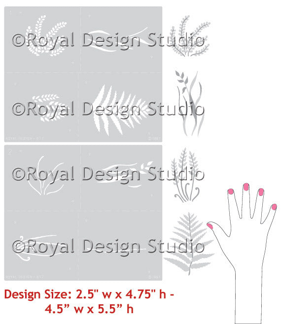 Baby Ferns Furniture Stencils for Painting Dressers and Cabinets