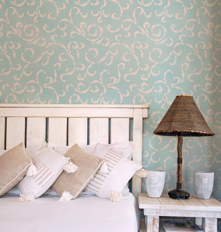 Sea Scolls Vine Wallpaper Wall Stencils for Painting - Royal Design Studio