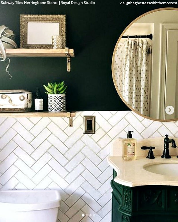 Subway Tiles Herringbone Wall Stencil