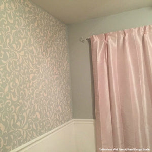 Tailfeathers Allover Wall Stencils for Painting an Accent Wall - Royal Design Studio