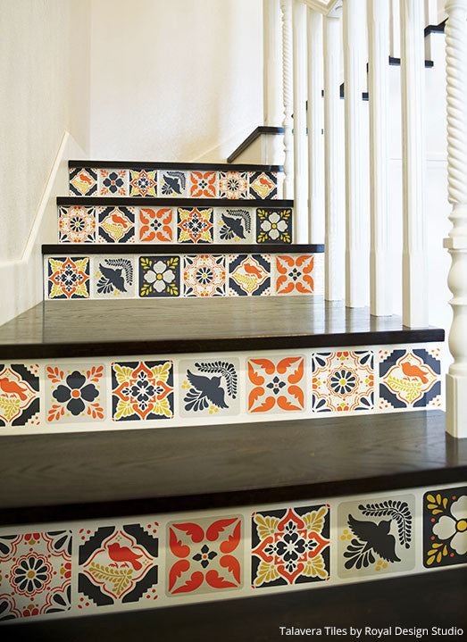 ... DIY Mexican Talavera Tile Furniture Stencils   Royal Design Studio ...