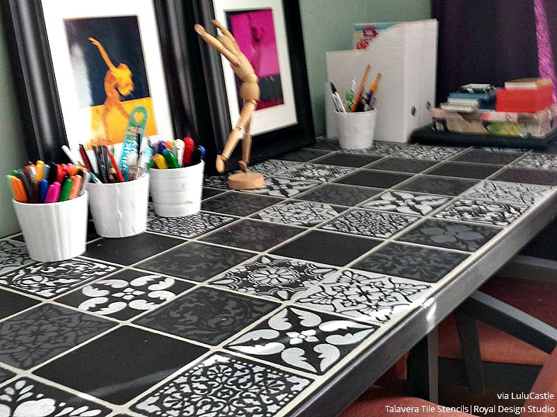 Mexican Talavera Tiles Wall Furniture Stencils Royal Design - Black and white talavera tile