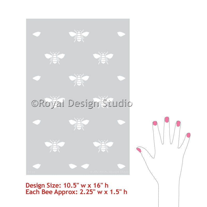 Bumble Bee Allover Wall, Furniture, and Craft Stencils - Royal Design Studio - Cute Kitchen Decor and Kids Room Decor