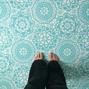 Colorful Painted Floor with Lace Pattern - Royal Design Studio Floor Stencils