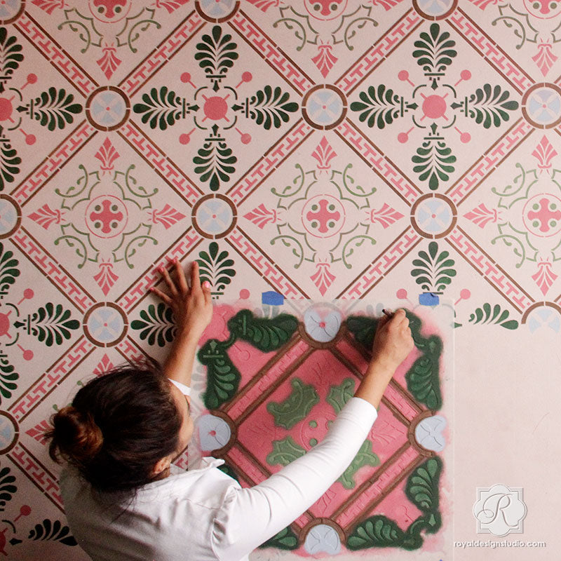 Grecian Tile Damask Wall Stencil - Greek Pattern for DIY Home Decor ...