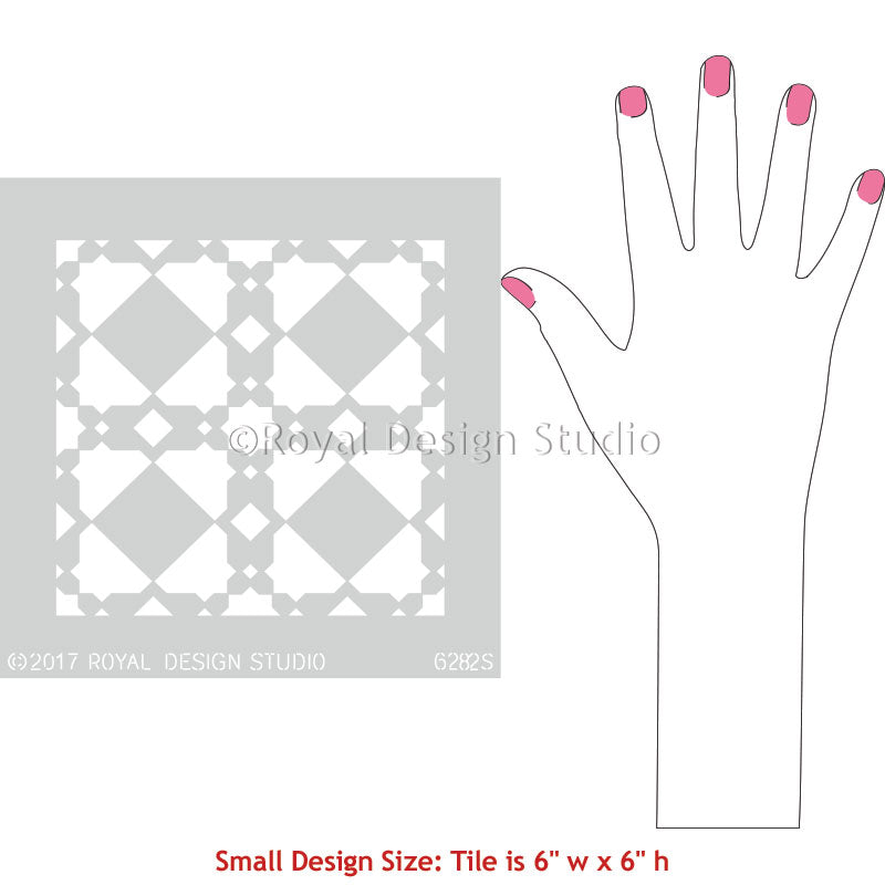 Small Moroccan Tile Patterns for Painting Concrete or Ceramic Tile Floors - Royal Design Studio Stencils