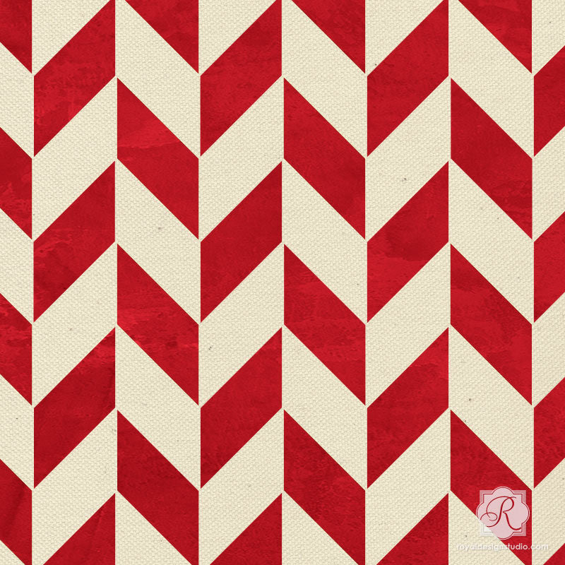 Traditional herringbone stencils for DIY Christmas candy cane crafts