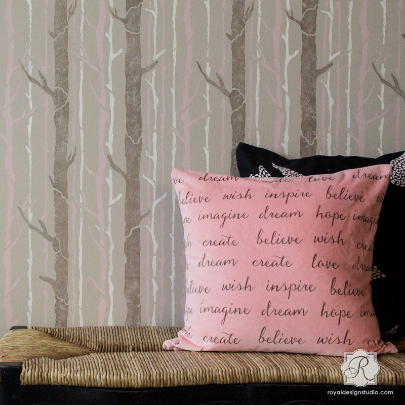 Large Wall Stencils for Tree Branch Designs - Nursery or Bedroom Accent Wall - Royal Design Studio