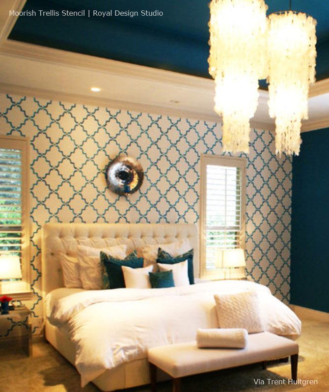 White and Blue Master Bedroom Decor - Moorish Trellis Accent Wall Stencils by Royal Design Studio