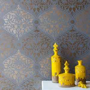 Moroccan Allover Damask Trellis Wall Stencils - Royal Design Studio