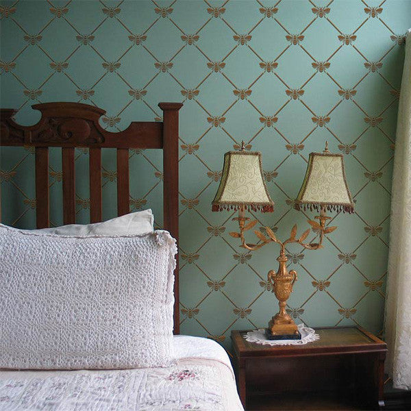 bedroom stencil ideas.  Bumble Bee Trellis Pattern Wall Stencils For Diy Wallpaper Effect Royal Design Studio Pattern Stencils French Bee Trellis Stencil