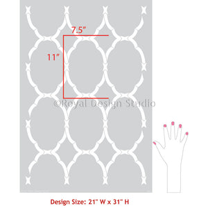 Trellis Wallpaper Pattern Modern Geometric Wall Stencils for Painting - Royal Design Studio