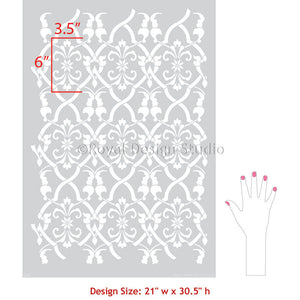 Bohemian Moroccan Decor with Trellis Wallpaper Wall Stencils - Royal Design Studio