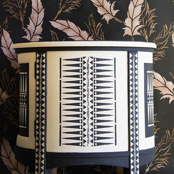 African and Tribal Pattern for Painted Furniture Stencils - Royal Design Studio