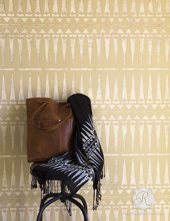 Chic African Tribal Wall Stencil Allover Pattern For