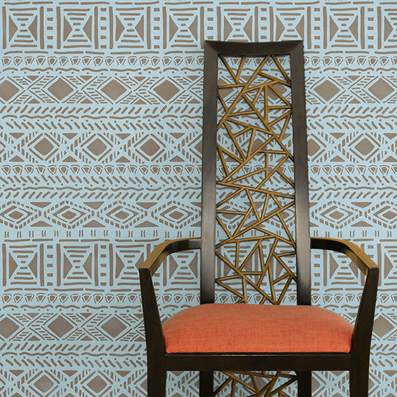 Geometric African Allover Wall Stencil Royal Design