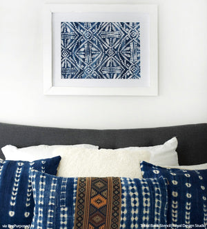 DIY Wall Art with Tribal Batik Patterns - Indigo Color Trend and Wall Stencils