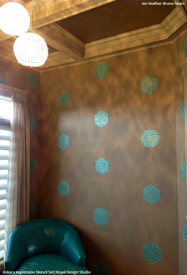 Modern Boho Chic Room Makeover Painting Wall Stencils Wall Art Indian Designs - Royal Design Studio