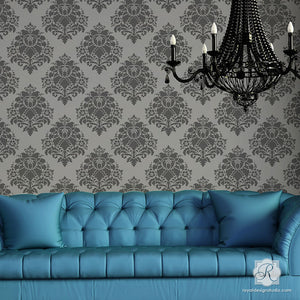 Classic Victorian Home Decor and DIY Decorarting Ideas - Aveline Floral Damask Wall Stencils - Royal Design Studio