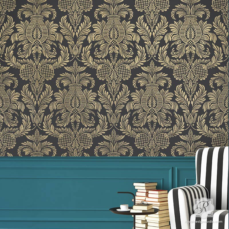 Large Victorian Style Damask Wall Stencils for Decorating - Isle of Palms Damask Wall Stencils - Royal Design Studio