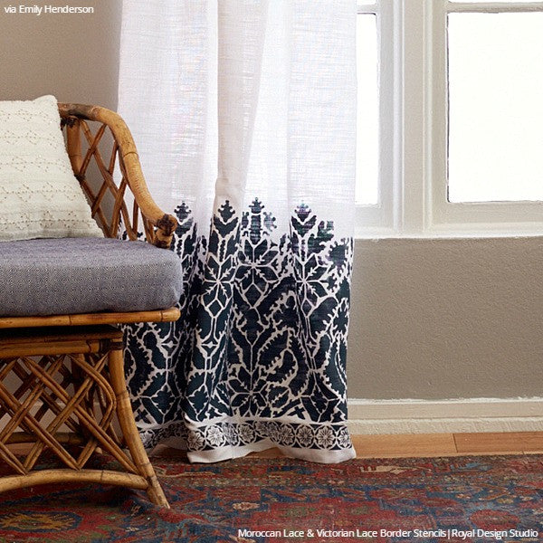 DIY Painted Curtains with Fabric Stencils - Moroccan Lace Border Stencils - Royal Design Studio