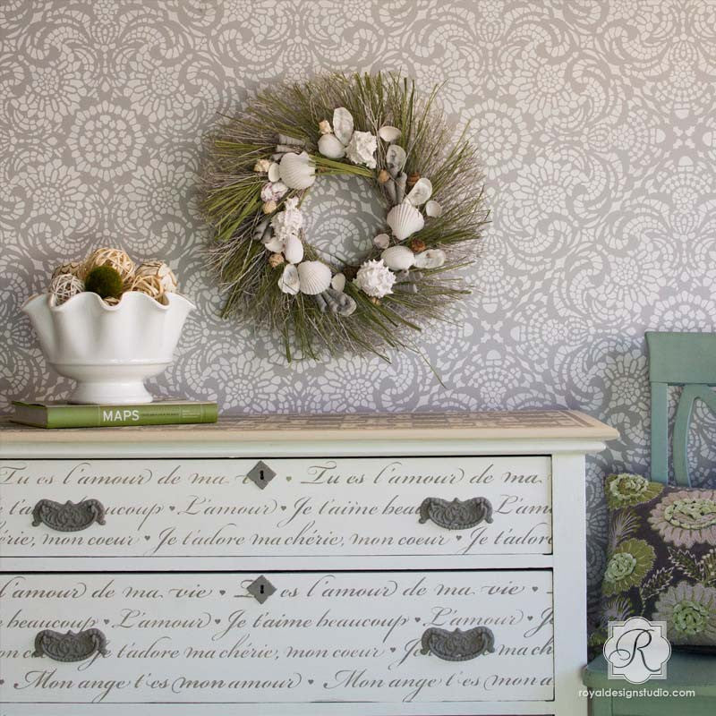 French love letters furniture stencil stenciling for diy - Vintage and chic love ...