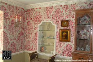 Vintage Pink Wallpaper Damask Wall Stencils - Royal Design Studio