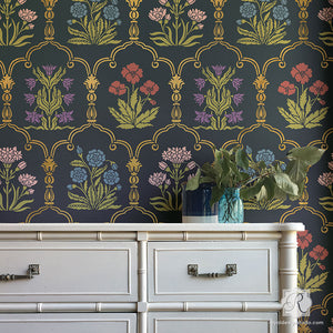 Custom Flower Trellis Wall Stencils for Painting - Vintage European Wallpaper Pattern - Royal Design Studio