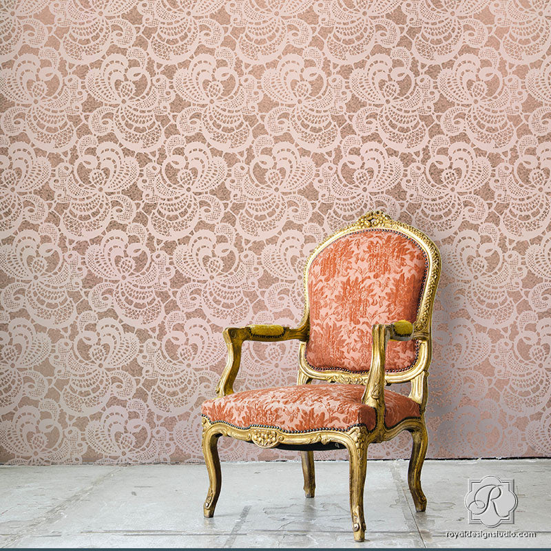 Chantilly Lace or Battenburg Lace Wall Stencils - Vintage Shabby Chic Wall Decor - Royal Design Studio