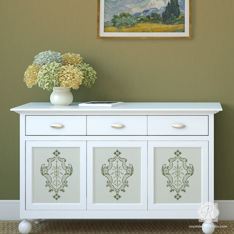 Painting Furniture With Classic Italian Designs   Villa Damask Furniture  Stencils   Royal Design Studio