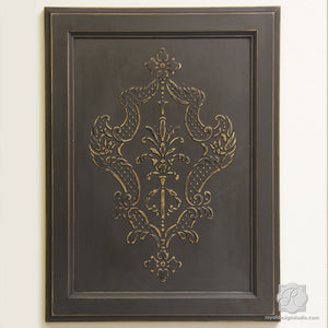 Painting furniture with classic Italian designs - Villa Damask Furniture Stencils - Royal Design Studio
