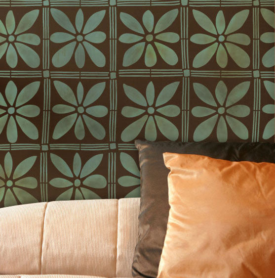 Decorating Walls with Tribal Patterns - African Flowers Wall Stencils for Large Tribal Flower Patterns on Painted Walls - Royal Design Studio