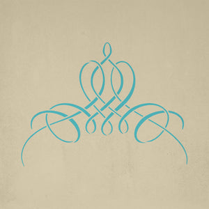 French calligraphy motif stencil