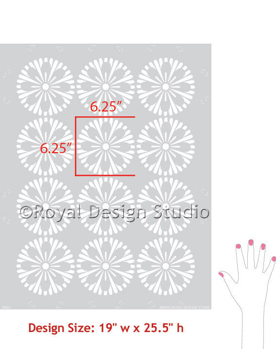 Decorate your home with Modern Geometric Circles Allover Flower Wall Stencils - Royal Design Studio