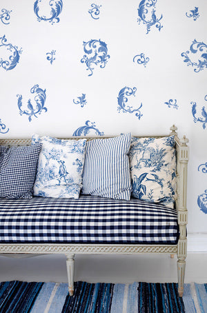 Indigo Blue Color Scheme using Asian Stencils and Chinois Complete Wall Stencils